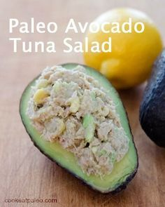 Paleo avocado tuna salad is an easy lunch, snack or quick dinner recipe in 5 minutes with just 4 essential ingredients. An easy, healthy go-to meal!   cookeatpaleo.com