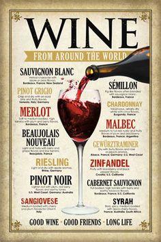 Vintage Wine Posters | Vintage - Wine Around The World - Poster - 61x91,5