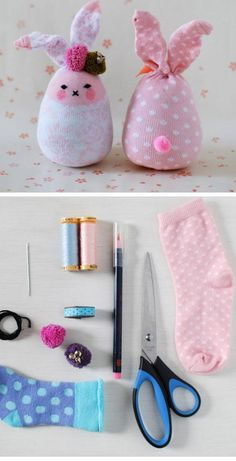 Bunny Softies From Socks | Click Pic for 25 Easy Easter Crafts for Kids to Make | Easy Easter Craft Ideas for Toddlers to Make