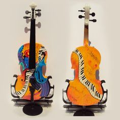 Custom Painted Violin Instruments Cellos Guitars by JuleezGallery I really like the back of this one