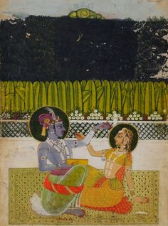 Krishna And Radha. Gouache on paper heightened with gilt, India, Kishangarh, century Indian Paintings, Ancient Art, Indian Art, Deities, Art And Architecture, Art World, Gouache, 18th Century, Painting & Drawing