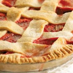 Rhubarb and Strawberries go hand in hand, and they're in season this spring! Try making this Strawberry Rhubarb Pie @EatingWell Magazine