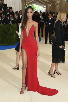 Joan Smalls Is Pure Punk and Heat in a Fiery Red Dress at the Met Gala