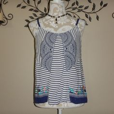 CAbi Womens Blue White Striped Harlow Cami Tank Top Style #796 Size Small #CAbi #TankCami #Casual