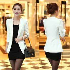 Primavera e outono blazer feminino outerwear fino médio longo terno profissional em Blazers de Roupas e Acessórios no AliExpress.com | Alibaba Group