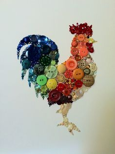 Kitchen+Rooster+Kitchen+Art+Buttons+and+Swarovski+by+BellePapiers,+$114.00