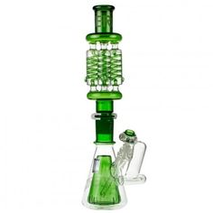 Pure Glass ZERO X4 Freezable Quad Coil Beaker Bong with Ash Catcher | Green - http://honeycombbong.com/pure-glass-zero-x4-freezable-quad-coil-beaker-bong-with-ash-catcher-green/