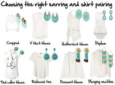 Choosing the right earring and shirt pairing. Collar Blouse, V Neck Blouse, Peasant Blouse, Fashion Tips For Women, Plunging Neckline, Get Dressed, What To Wear, Fashion Beauty, Fancy