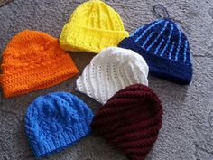Though I don't have these for sale on my website (and all of these hats have actually been sold), any one of these can be made to order...any time. :)