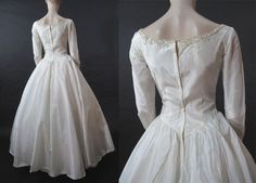 1950's Taffeta Wedding Dress With Sequins And Simulated Pearls from thevintagegenie on Ruby Lane