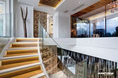 Stairs/ Clifton View 7 was constructed by Antoni Associates in and is located in Cape Town, South Africa. Interior Design With Glass, Home Interior Design, Mansion Homes, Wooden Staircases, Modern Stairs, Property Design, Modern Mansion, Interior Stairs, Dream Apartment