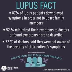 LUPUS FACT: Lupus patients downplay symptoms in order not to upset family members, minimize symptoms to their doctors, and many doctors said they were not aware of the severity of their patient's symptoms. Is this you? Please share your story. www.MollysFund.org