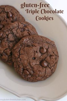 Gluten-free Triple Chocolate Cookies Recipe. Tried and true family favorite!