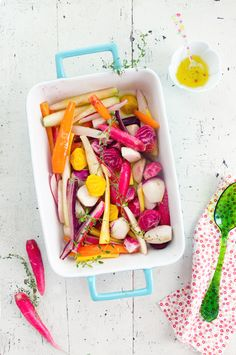 "Roasted Root Vegetables. The photography on this post is gorgeous!  ""I was so pleased to find a wide selection of scrumptious-looking root vegetables... I knew that I would rub them simply with garlic and thyme, adding perhaps coriander or cumin. Then, I'd roast them, so that my vegetable dish would reveal the taste of each vegetable while offering a patchwork of cheerful colors."""