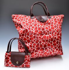 Fold-able Reusable Waterproof Shopping bag Red Animal Print Longchamp, Shopping Bag, Reusable Tote Bags, Animal, Green, Clothes, Bag, Outfits, Clothing