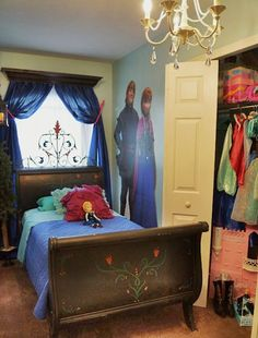 "Princess Anna's bed from ""Frozen"" by Disney. This room is part of an 8 bedroom vacation rental by Disney World, and is available for weekly rentals! See www.vrbo.com/614710 for more information."