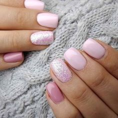 Fancy Nails, Pretty Nails, Hair And Nails, My Nails, How To Gel Nails, Pink Gel Nails, Glitter Accent Nails, Pink Manicure, Dark Nails