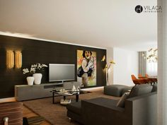 Interior design by Vilaça interiores 3d Rendering by Estudio Goma 3d Interior Design, Interior Rendering, Media Cabinets, Movie Rooms, Mexico House, Living Room Shelves, Home Tv, Living Room Inspiration, Living Room Designs