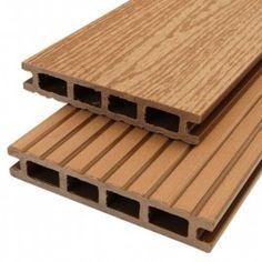 € 31,95 / m2 , C-Wood Vlonderplank composiet 15 cm zandbruin (4 mtr) schors en grove ribbel geschuurd,