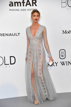 US model Martha Hunt poses as she arrives for the amfAR's 24th Cinema Against AIDS Gala on May 25 2017 at the Hotel du CapEdenRoc in Cap d'Antibes...