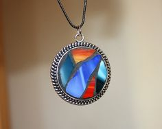 Red Stained Glass Round Pendant Necklace Blue by irmaKdesigns