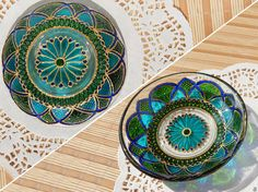 RichanaDragon ||| Glass plate with mandala pattern is suitable for home decor as fantasy bowl candle holder or for Summer dining as outdoor dinnerware. Hand painted stained glass.