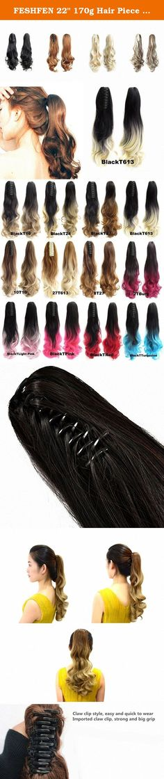 """FESHFEN 22"""" 170g Hair Piece Pony Tail Ponytail Hair Extensions Hairpiece Long Straight/Voluminous Curled Wavy Clip In/On Claw Ponytail BlackT613 Two Tone Black to Bleach White Blonde. FESHFEN 22"""" 170g Hair Piece Pony Tail Ponytail Hair Extensions Hairpiece Long Straight/Voluminous Curled Wavy Clip In/On Claw Ponytail BlackT613 Two Tone Black to Bleach White Blonde Product Information Materials: 100% Premium Quality Synthetic Hair, feels silky and soft like real human hair Weight: 160…"""