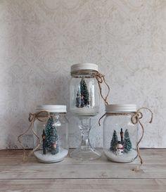 Shabby Christmas Rustic Waterless Snowglobe Set by madistreasures