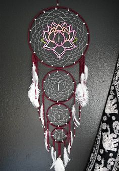 Layered Lotus Flower Dream Catcher by Aurvgon on Etsy Dream Catchers For Sale, Beautiful Dream Catchers, Dream Catcher Art, Large Dream Catcher, Dream Catcher Patterns, Dreamcatcher Design, Crochet Dreamcatcher, Dreamcatchers, Dream Catcher Tutorial