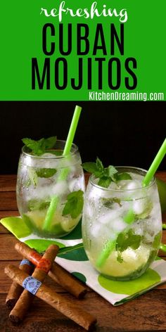 This classic Cuban mojito is a traditional Cuban cocktail made with lime, mint, and rum. If you're looking for a simple, thirst-quenching drink to get through the summer heat, this may very well be your new favorite cocktail. Mojito Pitcher, Mojito Drink, Mint Mojito, Triple Sec, Cocktail Drinks, Cocktail Recipes, Easy Summer Cocktails, Manly Cocktails, Popular Cocktails
