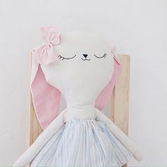 | Benita the bunny handmade doll light blue striped by lelelerele |