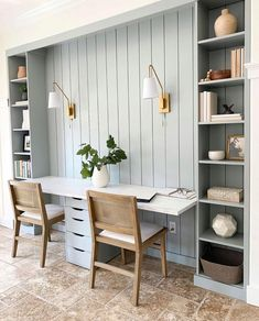 So impressed and inspired by this DIY built-in desk station by @stephanie.jane.cameron! Swipe to see the before 👉🏼 It ju... Gray Home Offices, Home Office Space, Home Office Design, Home Office Decor, House Design, Home Decor, Office Ideas, Office Inspo, Desk Space