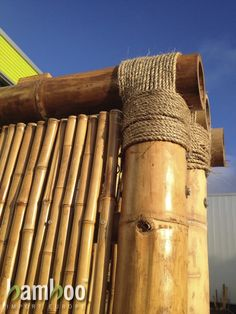 Some Easy DIY Bamboo Projects - No matter you are looking to make some large structure or small computer cases, bamboo will be your natural choice because it is lightweight, strong a. Bamboo Poles, Bamboo Art, Bamboo Crafts, Bamboo Fence, Bamboo Ideas, Permaculture, Cabana, Bamboo Building, Small Computer