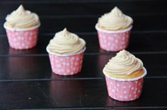 Olive oil strawberry thyme Cupcakes with balsamic icing. See also https://food52.com/recipes/21816-strawberry-thyme-cupcakes-with-balsamic-frosting