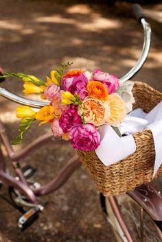 Beautiful beautiful pink and orange wedding bouquet