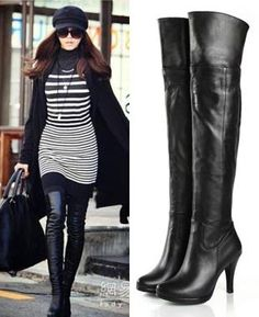 f6fd69688 over the knee boot Over Boots, Over The Knee Boot Outfit, Black Boots Outfit