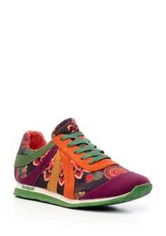 DESIGUAL Orange Lace-Up Low Top Sneaker