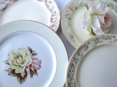 Vintage Mismatched China Dinner Plates Set of Four by thechinagirl