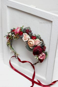 Burgundy blush pink beige eucalyptus flower crown Floral accessories Wedding hair wreath Flower halo Bridal headband Bridesmaid headpiece - All For Hair Color Trending Wedding Hair Colors, Wedding Hair Flowers, Flowers In Hair, Hair Wedding, Fabric Flowers, Bridesmaid Headpiece, Wedding Bridesmaids, Pink Beige, Blush Pink