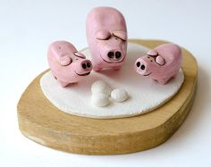 Pig figurines pocket animals collectible set of by LaDetallista