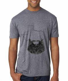 Texas Beard Tri Blend Crew T Shirt