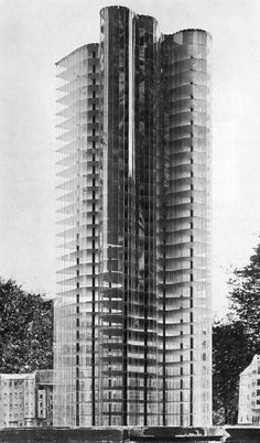 Mies van der Rohe's model for a glass skyscraper in 1922