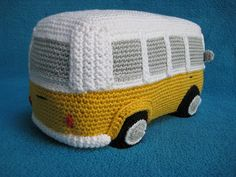 "How about a woolly version of the cutest VW inspired camper van ever ?!  This --- PDF CROCHET PATTERN --- describes in US terminology how to crochet an original Volkswagen (inspired) Camper Van / Bus as shown on picture. Finished size will be approx. 7,9"" (20 cm) long, 4.3"" (11 cm) tall, 4.3"" (11 cm) wide, crocheted using cotton yarn (sport / 5 ply), with hook size C (2.5 mm). The pattern is also available in Dutch (Nederlands) and German (Deutsch), see below.  If you wish to make a..."