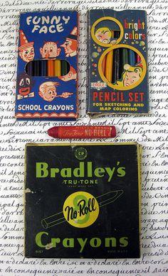 Vintage crayons and pencils