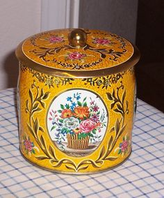Yellow and Gold Daher Tin made in England by DebsBetterThanNew, $9.50