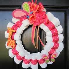 Diaper wreath - Could be really cute if done the right way!