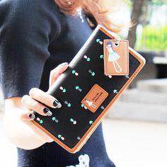 Famosas Design bonito impressão mulheres carteira, Longo desenhe   out carteira tipo feminino embreagem bolsas carteira feminina em Carteiras de Bagagem & Bags no AliExpress.com   Alibaba Group