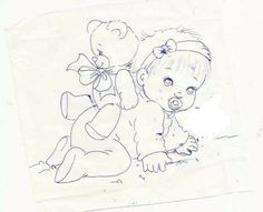 Baby Coloring Pages, Colouring Pics, Coloring Books, Baby Illustration, Pattern Illustration, Tole Painting, Fabric Painting, Vintage Embroidery, Embroidery Applique