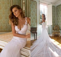 2015 Backless Mermaid Wedding Dresses Julie Vino New Arrival Deep Sweetheart Neckline White Spaghetti Strap Appliques Wedding Gowns AN551 Online with $140.07/Piece on Bridal_mall's Store   DHgate.com
