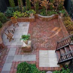 Brick Warming Patio Design with Wooden Deckchair Surrounding by Beautiful Mini Garden in Modern House Design Ideas